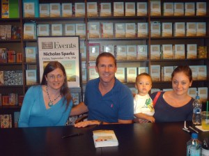 Me, (L) and my daughter and grandson at Nicholas Sparks' book signing for