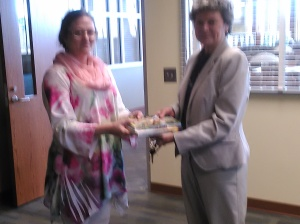Me with the JCC Librarian receiving my books for addition to the library