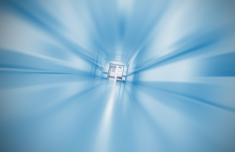 Blurred hospital corridor concept emergency case
